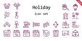 holiday icon set. line icon style. holiday related icons such as gift, calendar, love, new, flippers, clover, cabin, bouquet, box, picnic, tulip, garlands, cupid, palm tree, sale, in love, love birds, postcard