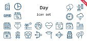 day icon set. line icon style. day related icons such as calendar, love, balloon, balloons, wedding day, clock, conserve, heart, cloud, cupid, timer, lips, planet earth, beach, love letter, time, valentines day,