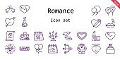 romance icon set. line icon style. romance related icons such as love, balloon, engagement ring, balloons, broken heart, lipstick, kiss, heart, love potion, cupid, diamond, love birds, candelabra, marriage, newlyweds
