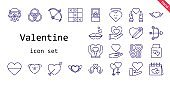 valentine icon set. line icon style. valentine related icons such as love, couple, wedding gift, engagement ring, bow, kiss, heart, cupid, wedding car, rings, love birds, tic tac toe, valentines day,