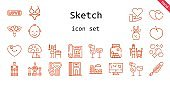 sketch icon set. line icon style. sketch related icons such as plum, love, colosseum, barrel, dress, cocktails, quill, draw, heart, flower, blueprint, bikini, divider, cones, shashlik, baby, hearts, tandoor, bubbles