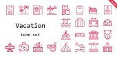 vacation icon set. line icon style. vacation related icons such as tent, sunglasses, suitcase, hot tub, briefcase, passport, luggage, camel, swimming pool, airplane, beach, parthenon, dive, cabins, boarding pass,