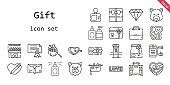 gift icon set. line icon style. gift related icons such as love, gift, online shopping, gift card, briefcase, certificate, store, perfume, sloth, heart, diamond, mailbox, paper bag, chocolate box, bear, card