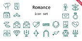 romance icon set. line icon style. romance related icons such as love, wedding ring, engagement ring, balloons, broken heart, necklace, kiss, wedding bells, heart, cupid, diamond, wedding arch, candelabra, love birds