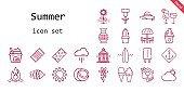 summer icon set. line icon style. summer related icons such as veranda, beach towel, surfboard, umbrella, cocktails, vase, sun, popsicle, frozen yogurt, coconut, flower, cloud, ice cream, bird house, pamela, anchor