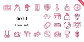 gold icon set. line icon style. gold related icons such as gift, gift card, ticket, balloons, piggy bank, engagement ring, corn, shovel, tulip, garlands, ball, toast, roulette, magic wand, medal, pandoras box, vector