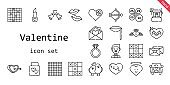 valentine icon set. line icon style. valentine related icons such as groom, engagement ring, wedding gift, ring, broken heart, lipstick, kiss, petals, heart, wedding car, cupid, lips, love birds, tic tac toe, love letter