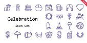 celebration icon set. line icon style. celebration related icons such as laurel, cake slice, wine glass, flowers, cards, balloon modelling, garter, tree, lollipop, necklace, lantern, flower, ghost, wedding arch, turkey