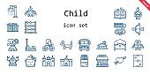 child icon set. line icon style. child related icons such as bed, shower, castle, balloon modelling, air hockey, cupid, robot, sticks, spellbook, roller coaster, school, baby, abacus, school bus, tickets office, indian tent