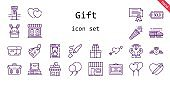 gift icon set. line icon style. gift related icons such as confetti, shop, balloons, briefcase, certificate, box, store, heart, cupid, diamond, mailbox, highlighter, hearts, diploma, tag, bunny, train, gifts