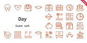 day icon set. line icon style. day related icons such as calendar, love, raining, clock, heart, cupid, lips, tulips, in love, love birds, tic tac toe, beach, love letter, time, savings, present,