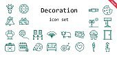 decoration icon set. line icon style. decoration related icons such as calendar, love, door, sofa, ticket, cookie, belt, wool ball, ox, lamp, vase, torch, tulip, bell, sand, palm tree, fan, romantic music, painting