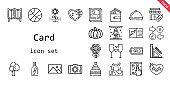 card icon set. line icon style. card related icons such as gift, message in a bottle, wallet, room divider, stores, tree, bouquet, photo, dinner, heart, picture, flower, online shop, basketball, wedding cake, stationery