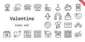 valentine icon set. line icon style. valentine related icons such as love, couple, groom, ring, engagement ring, caramelized apple, lipstick, heart, cupid, wedding car, romantic music, in love, love birds, tic tac toe