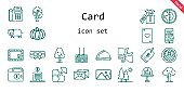 card icon set. line icon style. card related icons such as payment method, gift, wallet, garter, tree, dinner, trees, picture, pig, scissors, bank, envelope, puzzle, cake, price tag, earth, ace of hearts, love letter