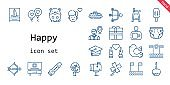 happy icon set. line icon style. happy related icons such as pigeon, gift, balloon, mortarboard, hamster, tree, clover, caramelized apple, employee, boy, heart, popsicle, cupid, flute, mailbox, baby chair, cake
