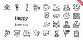 happy icon set. line icon style. happy related icons such as gift, snail, shower, sofa, father and son, garland, bench, turtle, ladybug, drink, champagne glass, squirrel, plumber, planet earth, postman, postcard