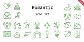 romantic icon set. line icon style. romantic related icons such as wedding dress, couple, groom, bouquet, wedding video, kiss, heart, champagne glass, cupid, hot air balloon, wedding cake, wedding arch, hearts