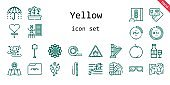 yellow icon set. line icon style. yellow related icons such as note, sponge, sunglasses, color, umbrella, paw, harp, peach, shovel, lollipop, infrared, pencil, sunflower, debit card, folder, tulips, tape, percentage