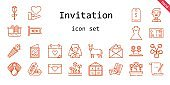 invitation icon set. line icon style. invitation related icons such as love, bride, parchment, new, wedding dress, confetti, flowers, groom, donkey, pool, wedding day, decorative, flower, tags, tulips, postcard