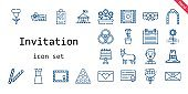 invitation icon set. line icon style. invitation related icons such as dress, groom, flowers, garter, voucher, donkey, pool, bouquet, pilgrim, wedding video, decorative, agenda, flower, envelope, rings, wedding arch