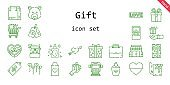 gift icon set. line icon style. gift related icons such as gift, love, balloons, engagement ring, ring, briefcase, stores, perfume, heart, supermarket gift, cupid, shopping bag, highlighter, price tag, shopping cart