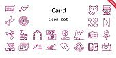 card icon set. line icon style. card related icons such as insurance, wallet, cannon, wedding day, terrarium, ace of diamonds, trees, heart, swans, flower, cupid, scissors, id card, wedding arch, money, cat