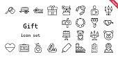 gift icon set. line icon style. gift related icons such as gift, shop, ring, voucher, bouquet, bag, necklace, perfume, heart, cart, tags, mailbox, highlighter, candelabra, cake, bear, teddy bear, diploma, tag