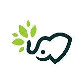 elephant baby leaf vector icon illustration