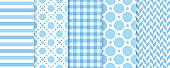 Scrapbook seamless patterns. Vector illustration. Geometric blue prints.