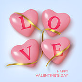 Valentines Day greeting card. Realistic 3d pink hearts in tinsel and text . Love and wedding. Template for products, web banners and leaflets. Vector illustration