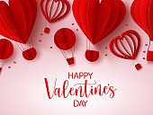 Valentine's vector background template. Happy valentine's day text In empty space for messages with heart shape paper cut elements for valentine greeting card design.