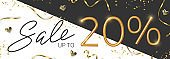 20 off discount promotion sale made of realistic 3d gold number with sepantine and tinsel. Vector