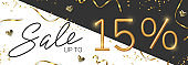 15 off discount promotion sale made of realistic 3d gold number with sepantine and tinsel. Vector