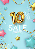 10 off discount promotion sale made of realistic 3d gold balloons with stars, sepantine and tinsel. Number in the form of golden balloons.  Vector