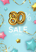 80 off discount promotion sale made of realistic 3d gold balloons with stars, sepantine and tinsel. Number in the form of golden balloons.  Vector