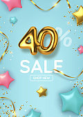 40 off discount promotion sale made of realistic 3d gold balloons with stars, sepantine and tinsel. Number in the form of golden balloons.  Vector