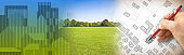 Nature and city - concept image with a green grass area of a public park, city map and urban skyline
