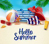 Hello summer in sand background vector banner. Hello summer greeting typography in white space for text with beach elements like hat, beach ball, flip flop, bag and sunblock with star fish and sea shell in beach sand background.