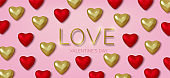 Valentines Day greeting card. Realistic 3d red and gold hearts in tinsel with metallic text . Love and wedding. Template for products, web banners and leaflets. Vector