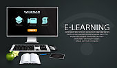 E-learning vector template design. E-learning webinar text with monitor computer, keyboard and mouse device for online education training and tutorial lecture.