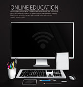 Online education vector background design. Online education text with monitor, keyboard and mouse device element for student e-learning course home school background.