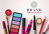 Makeup products vector template banner. Collection of face cosmetics beauty products for advertising mock up banner design in elegant background.
