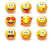 Smileys emoticon vector set. Smiley 3d emoji characters with expressions and emotions like happy, in love and crazy in yellow face icon for cute avatar character collection design.