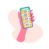 Online communication flat illustration. Woman's hand holding smartphone with messages, letters and calls banner design.