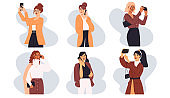 Businesswoman telephone call, successful person background. Modern woman in trendy outfit talking phone flat cartoon illustration set.