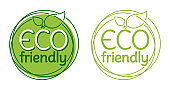 Eco friendly stamp with tree in thin line