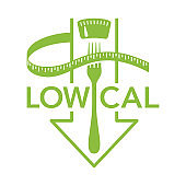 Low cal icon - scales with fork and arrow down