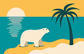 Climate change - polar bear looking at palm tree