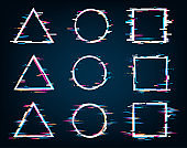 Vector geometric shapes frames with glitch effect. Circle, square, triangle. TV false or spurious electronic signal.